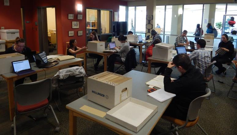 Students researching
